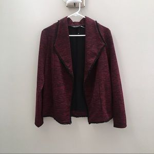 Red Heathered Open Front Jacket